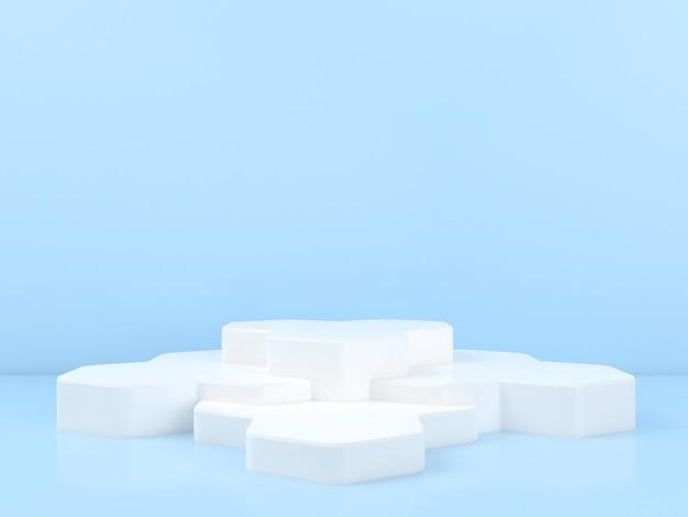 블루 파스텔 배경 모형에 기하학적 모양 흰색 연단 표시
