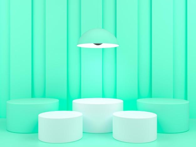 녹색 파스텔 배경 3d 렌더링에 기하학적 모양 흰색 연단 디스플레이