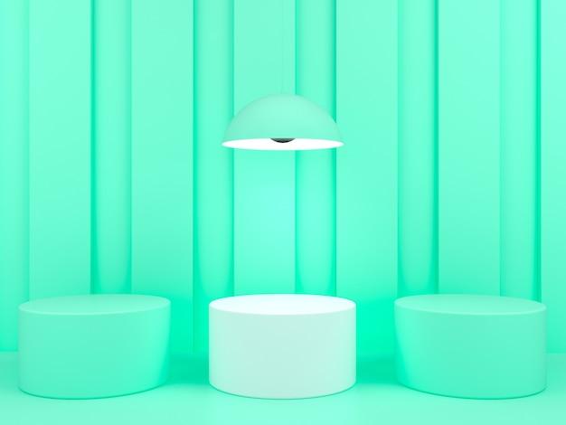 녹색 파스텔 배경 모형에 기하학적 모양 흰색 연단 표시