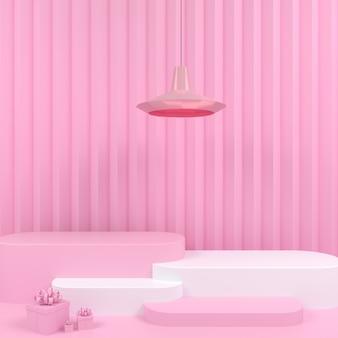 핑크 파스텔 배경 모형에 기하학적 모양 흰색 연단 표시