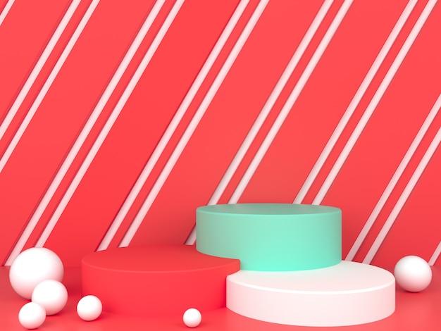 빨간색 파스텔 배경 모형에 기하학적 모양 흰색 연단 표시