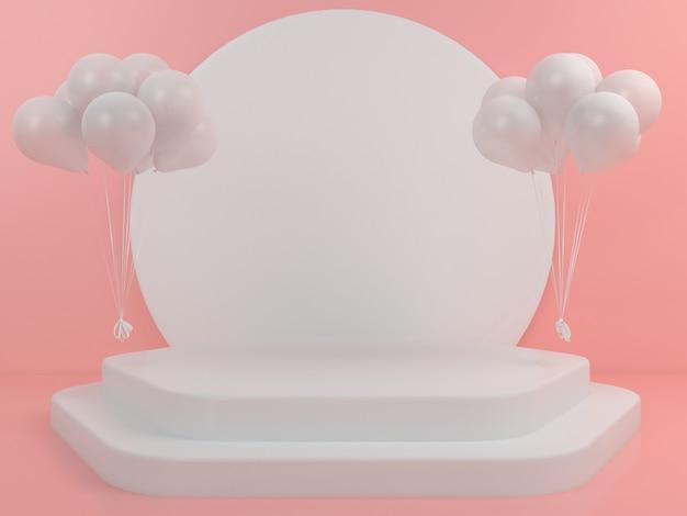 기하학적 모양의 흰색 연단 디스플레이 모형