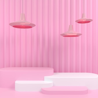 Geometric shape white podium display in pink pastel background 3d rendering