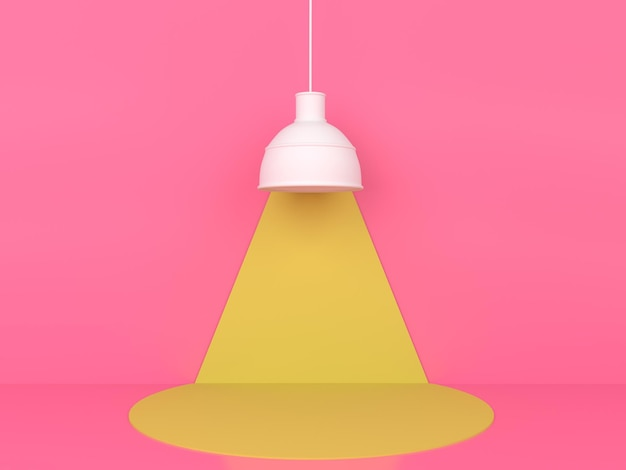 Geometric shape yellow podium display in pink pastel background 3d rendering