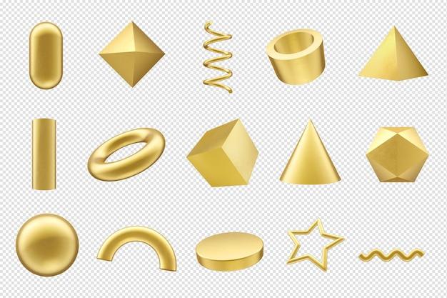 기하학적 인 도형 3d 렌더링 금 도형
