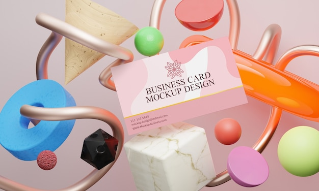 Geometric shapes and business card mockup