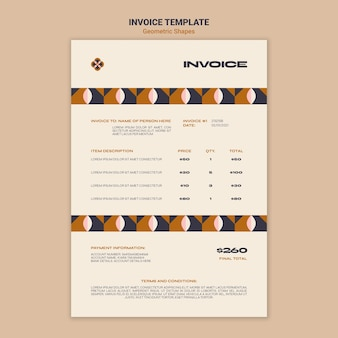 Geometric shapes invoice template