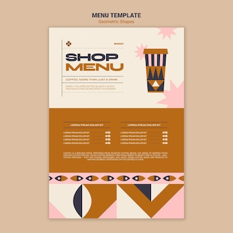 Geometric shapes shop menu template