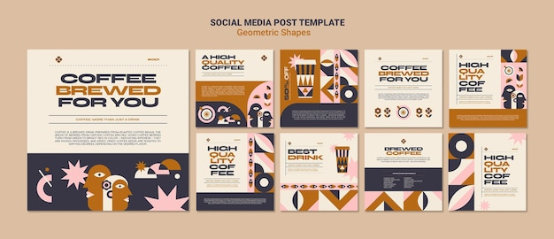 Geometric shapes social media post template