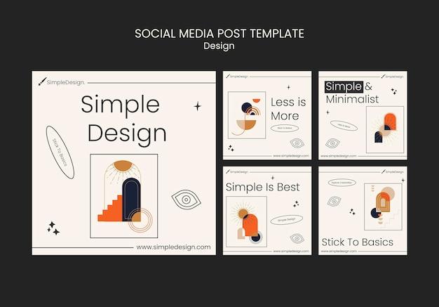Шаблон оформления поста в социальных сетях с геометрическим рисунком