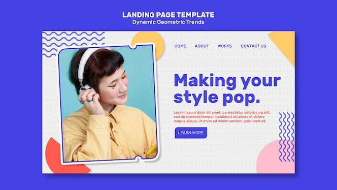 Geometric trends in graphic design landing page template