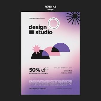 Geometric vertical flyer template for design studio
