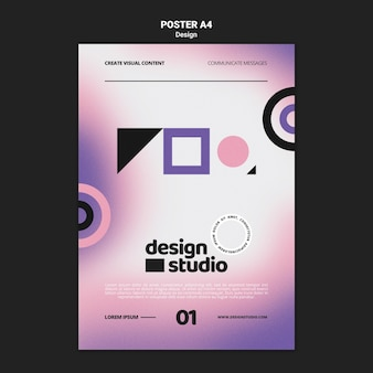 Geometric vertical poster template for design studio