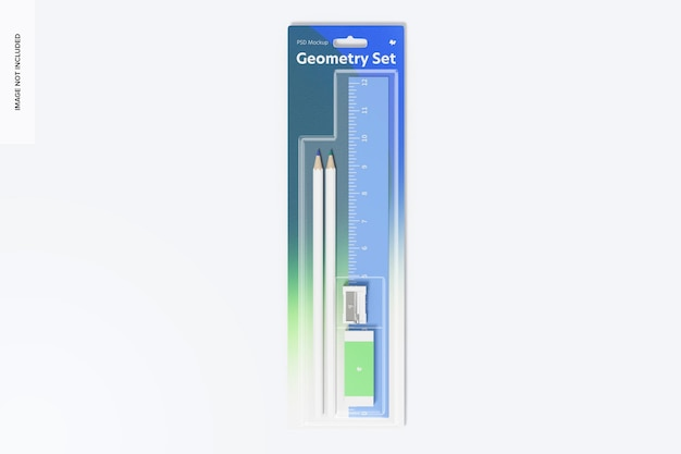 Geometry ruler and pencil set mockup, top view