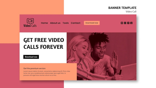 Ricevi videochiamate gratuite per sempre modello di banner