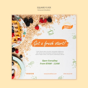 Get a fresh start with breakfast square flyer template