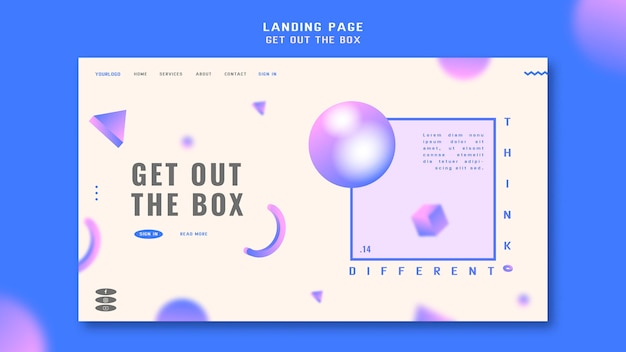 Get out the box landing page template