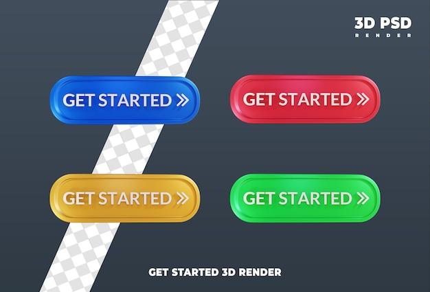 시작 레이블 디자인 3d 렌더링 아이콘 배지 절연