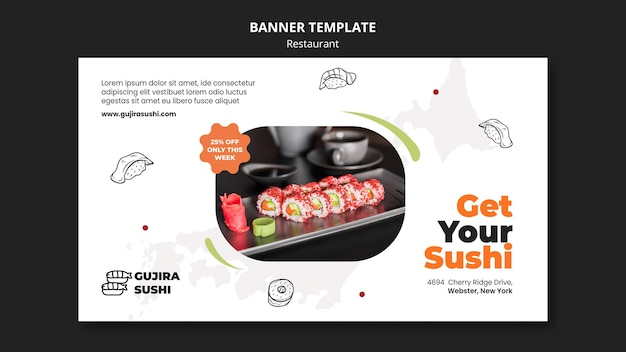 Get your sushi restaurant banner template
