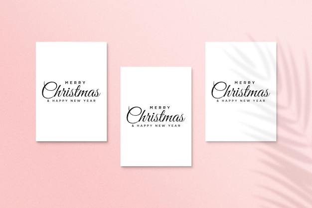Getting card mockup with christmas concept psd with palm leaves shadow