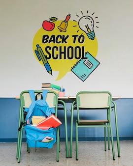 壁のモックアップで学校の初日の準備