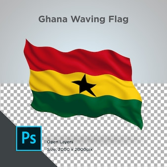 Ghana flag wave transparent psd