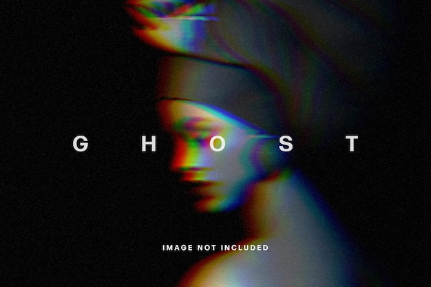 Ghost glitch photo effect template