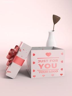 Подарочная коробка 3d макет логотипа