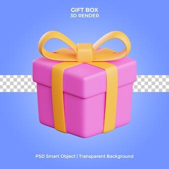 Подарочная коробка 3d визуализации изолированные премиум psd