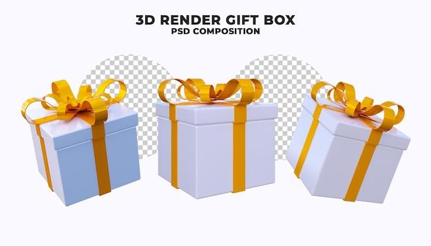 Подарочная коробка 3d визуализации изолированные