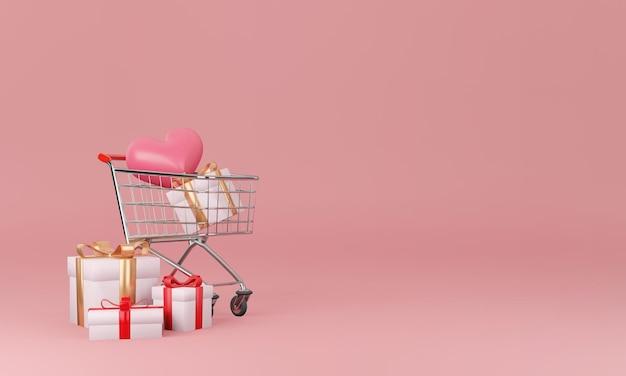 최소한의 디자인 컨셉으로 선물 상자와 하트 프리미엄 PSD 파일