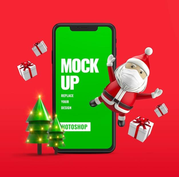 Подарочная коробка и мобильная реклама санты