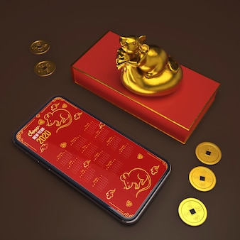 Подарочная коробка рядом с макетом смартфона
