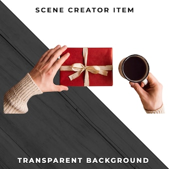 Gift box in hand. fathers day concept. isolated with clipping path.