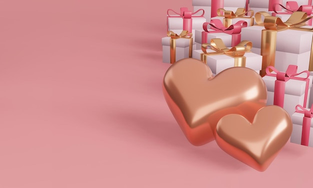 Gift box and heart with minimal design concept