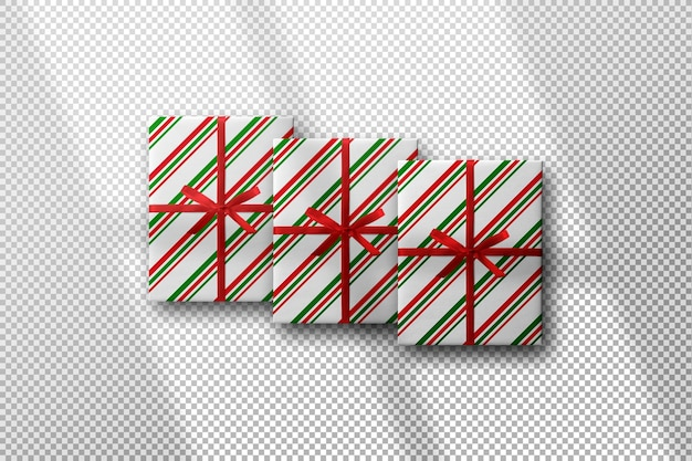그림자와 함께 크리스마스 디자인 선물 상자 모형