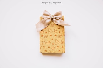 Gift box mockup with christmas design