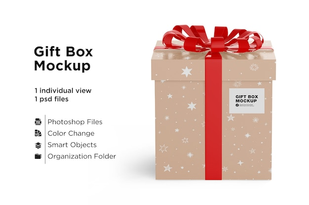 Gift box mockup with red ribbon bow