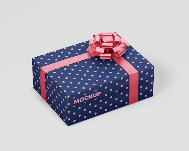 Gift box mockup with ribbon