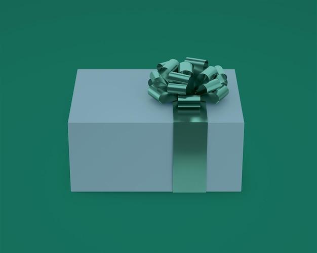 Макет подарочной коробки с лентой