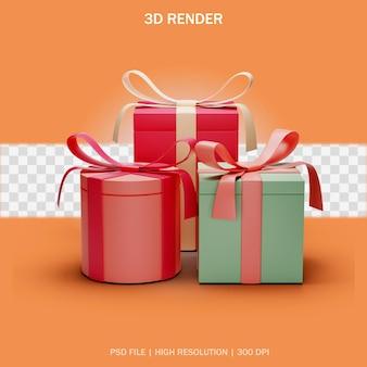 3d 디자인에 투명한 배경이 있는 선물 상자 세트