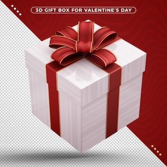 バレンタインデーのための赤い装飾的なリボンが付いているギフトボックス