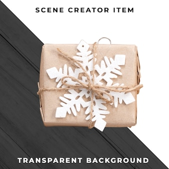 눈송이와 선물 상자입니다. 크리스마스 선물. 클리핑 패스와 함께 격리.