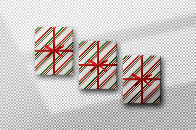 그림자가 있는 선 패턴 종이 모형으로 포장된 선물 상자