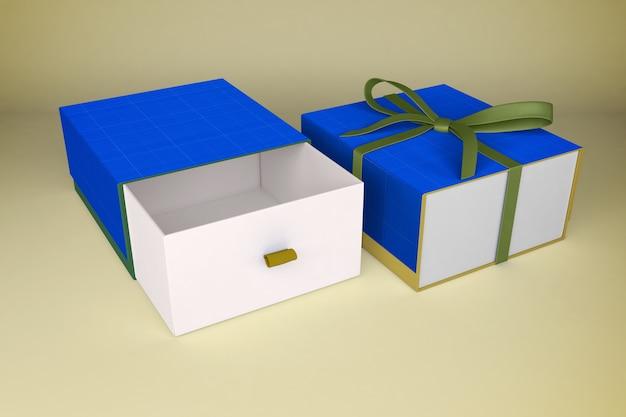 Мокап подарочных коробок с зеленой лентой