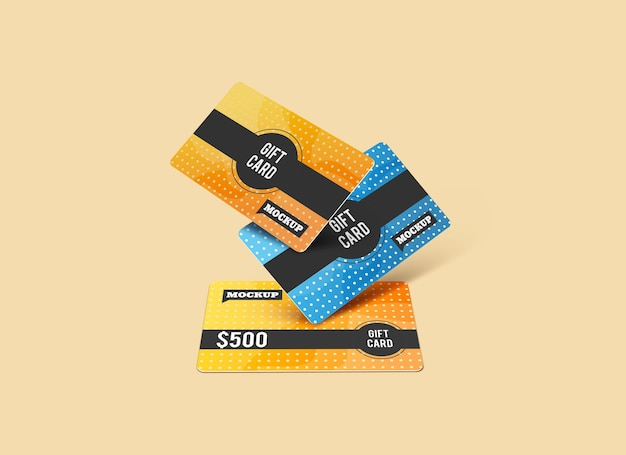 Gift card mockup design isolated