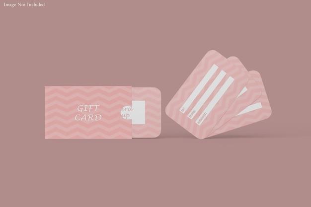 ギフトカードのモックアップデザインのレンダリング