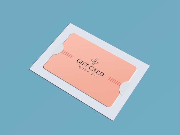 Gift card with paper brackets mockup design