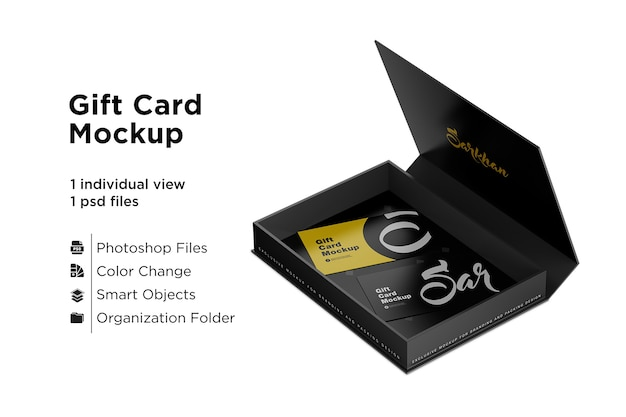 Gift cards in a box mockup