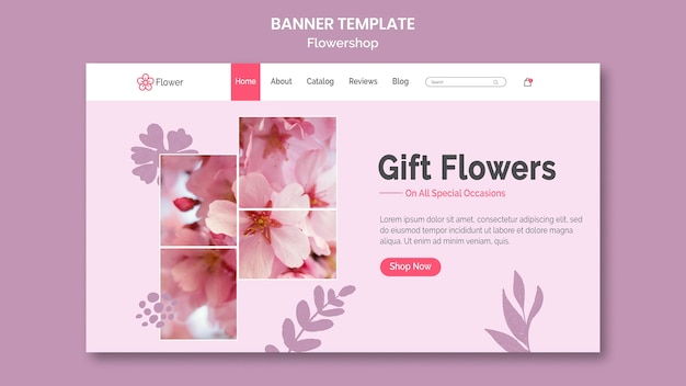 Gift flowers banner template